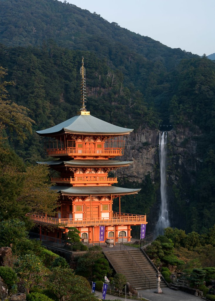 First light of the morning on Nachi Falls and Pagoda
